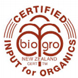 Certification for the BioGro Input for Organics